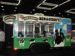picture of concession trailer set up inside for  sampling ice cream at a trade show